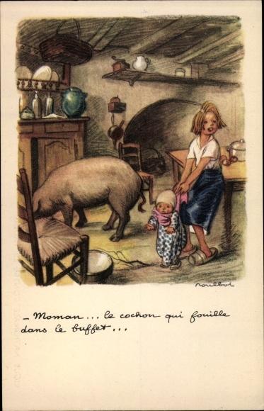 Künstler Ak Poulbot, Francisque, Maman, le cochon qui fouille dans le buffet