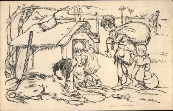 Künstler Ak Poulbot, F., Kinder ziehen in Hundehütte ein, Hund