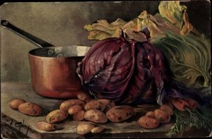Künstler Ak Golay, Mary, Stillleben mit Gemüse, Kohl, Kartoffeln, Möhren, Topf