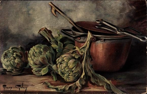 Künstler Ak Golay, Mary, Stillleben mit Gemüse, Artischocken, Topf