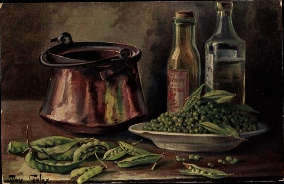 Künstler Ak Golay, Mary, Stillleben mit Gemüse, Erbsen, Ölflasche, Topf