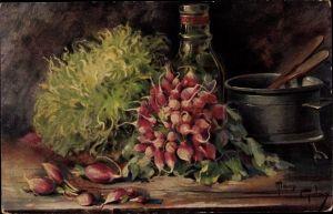 Künstler Ak Golay, Mary, Stillleben mit Gemüse, Radieschen, Topf