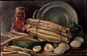 Künstler Ak Golay, Mary, Stillleben mit Gemüse, Spargel, Eier, Topf