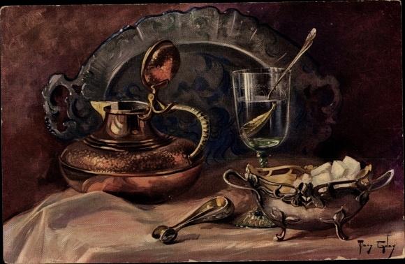 Künstler Ak Golay, Mary, Stillleben mit Absinth, Zuckerschüssel, Krug, Tablett