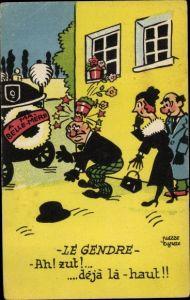 Künstler Ak Le Gendre, Mann fällt Blumentopf auf den Kopf, Comic, Humor