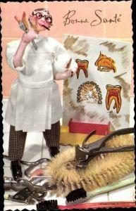 Ak Zahnarzt Puppe, Zahnbürsten, Zahnarzt Werkzeug, Zähne auf Bild