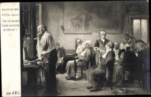 Künstler Ak Pinta, Henri, Jour de barbe à l'asile maritime de Berck, Barbier