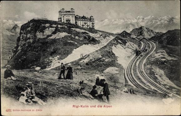 Ak Küssnacht Kt. Schwyz Schweiz, Rigi Kulm, Alpenpanorama, Bahnstrecke, Zahnradbahn
