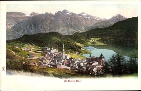 Ak St. Moritz Kt. Graubünden Schweiz, Panorama