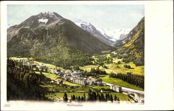 Ak Pontresina Kt. Graubünden Schweiz, Panorama