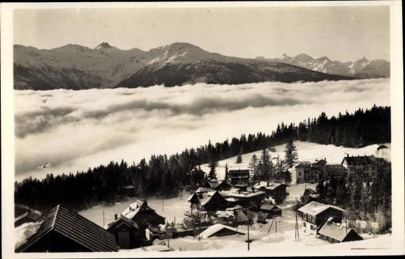 Ak Montana Kt. Wallis Schweiz, Mer de brouillard, Becs de Bosson, Winter