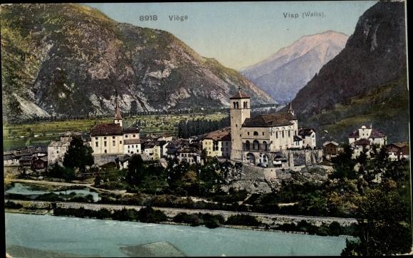 Ak Viege Visp Kt. Wallis Schweiz, Panorama