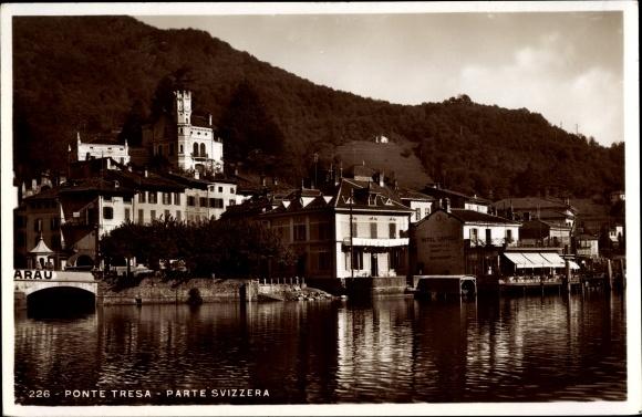 Ak Ponte Tresa Kt. Tessin Schweiz, Hotel Crivelli