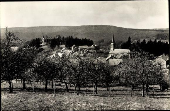 Ak Mirwart Luxemburg Wallonien, Panorama, Staplisse, chateau, eglise