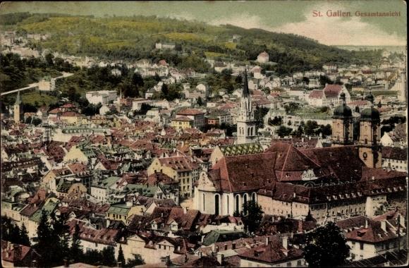 Ak Sankt Gallen Stadt Schweiz, Blick über die Dächer der Stadt