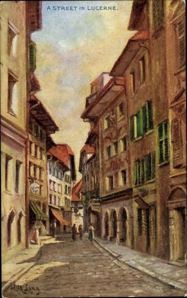 Künstler Ak Luzern Stadt Schweiz, Straßenpartie
