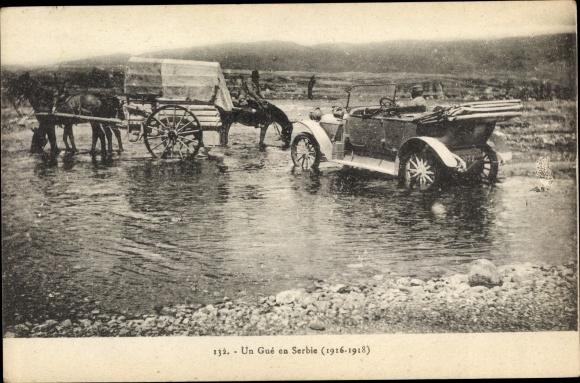 Ak Serbien, Kutsche und Auto überqueren eine Furt