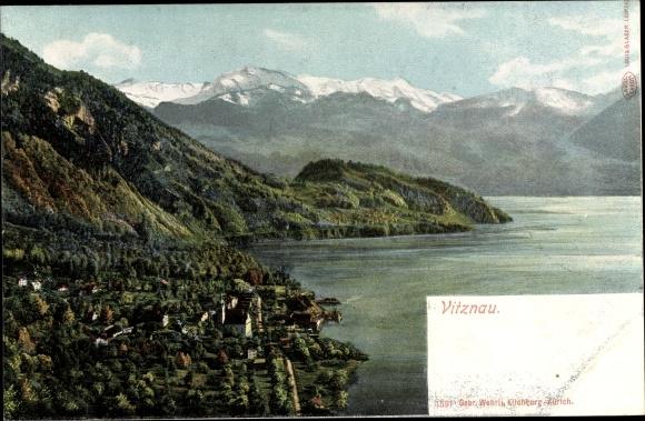 Ak Vitznau Kt. Luzern Schweiz, Panorama vom Ort und Alpen