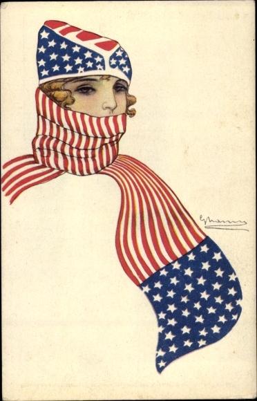 Künstler Ak Junge Frau in Mütze und Schal, US Fahne, Stars and Stripes
