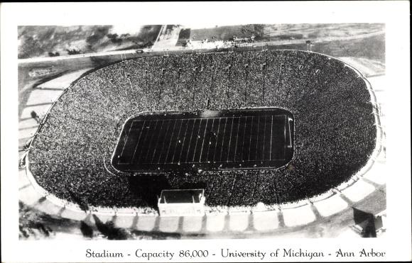 Ak Ann Arbor Michigan USA, Stadium, University of Michigan, American Football Game, aerial view