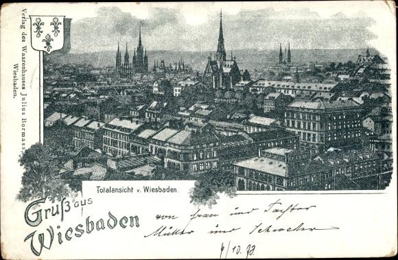 Litho Wiesbaden in Hessen, Totalansicht
