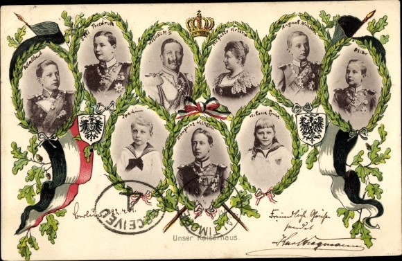 Ak Unser Kaiserhaus, Kronprinz Wilhelm von Preußen, Kaiser Wilhelm II., Kaiserin Auguste Viktoria