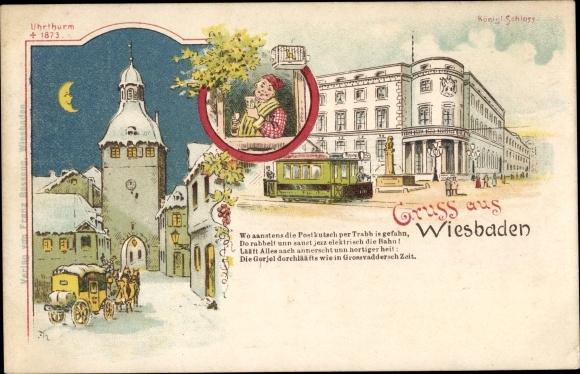 Litho Wiesbaden in Hessen, Schloss, Uhrturm, Straßenbahn
