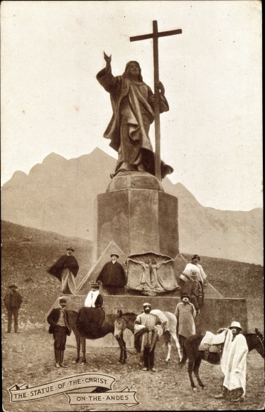Ak Chile, Argentinien, The Statue of the Christ of the Andes