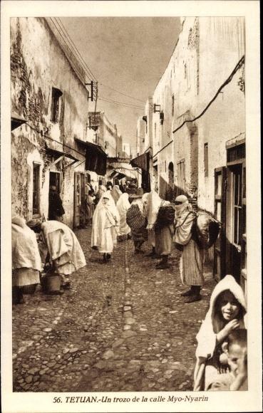Ak Tetuan Tétouan Marokko, Un trozo de la calle Myo Nyarin