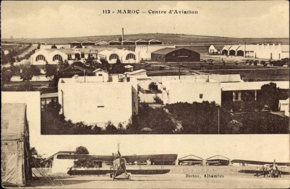 Ak Marokko, Centre d'Aviation, vue générale, biplans