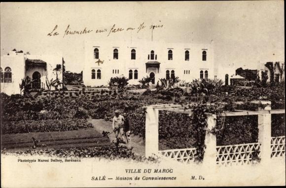 Ak Salé Maroc Marokko, Maison de Convalescence, vue extérieure, jardin, jardiniers