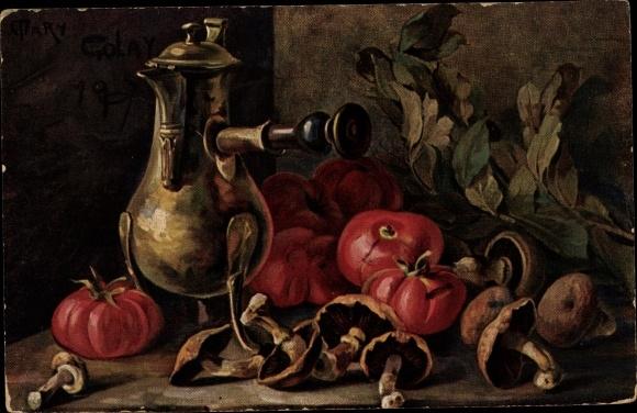 Künstler Ak Golay, Mary, Stillleben mit Gemüse, Tomaten, Pilze, Kanne