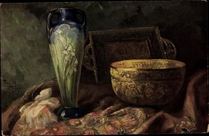 Künstler Ak Golay, Mary, Stillleben mit Blumenvase, Kelch, Rose