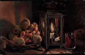 Künstler Ak Golay, Mary, Stillleben mit Gemüse, Kartoffeln, Zwiebeln, Laterne, Weinglas
