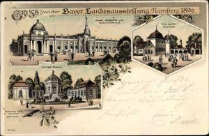 Litho Nürnberg, Bayer. Landesausstellung 1896, Armee Museum, Staatl. Anstalten, Kulmbacher Bierhalle