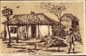 Künstler Ak Rumänien, Rumänisches Bauernhaus, I. WK
