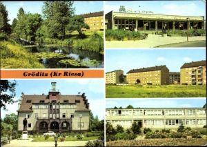 Ak Gröditz in Sachsen, Kanal, Rathaus, HO Kaufhalle, Oberschule