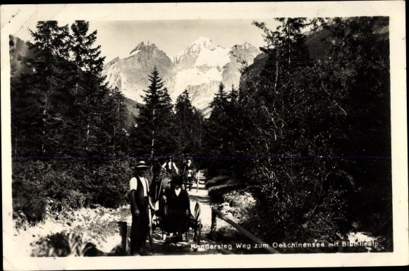 Ak Kandersteg Kt. Bern Schweiz, Weg zum Oeschinensee, Blumlisalp