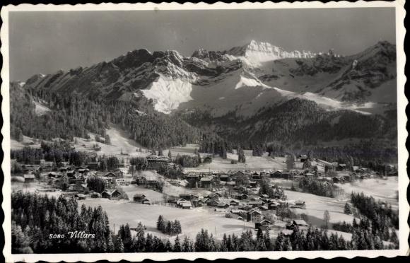 Ak Villars Kanton Waadt, Winterpanorama