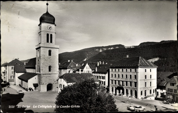 Ak Saint Imier Kt. Bern Schweiz, La Collegiale et la Combe Grede
