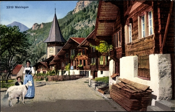 Ak Meiringen Kt. Bern Schweiz, Dorfpartie, Anwohner, Ziege