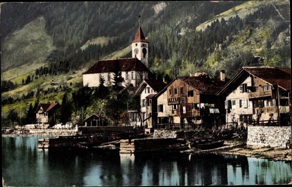 Ak Brienz Kt. Bern Schweiz, Kirche, Wohnhäuser