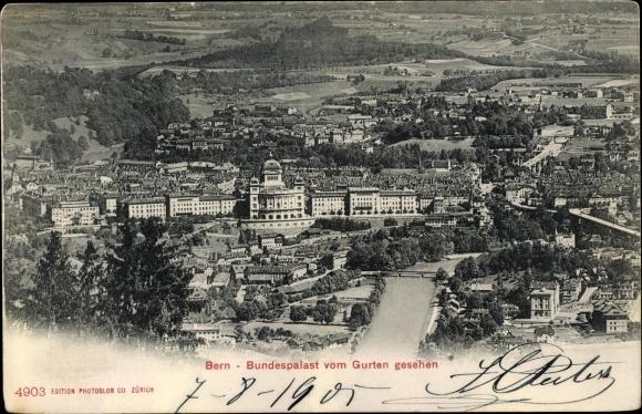 Ak Bern Stadt Schweiz, Bundespalast vom Gurten gesehen