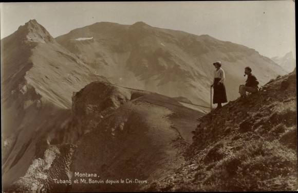 Ak Montana Kt. Wallis Schweiz, Tubang et Mont Bonvin, Cri Deers