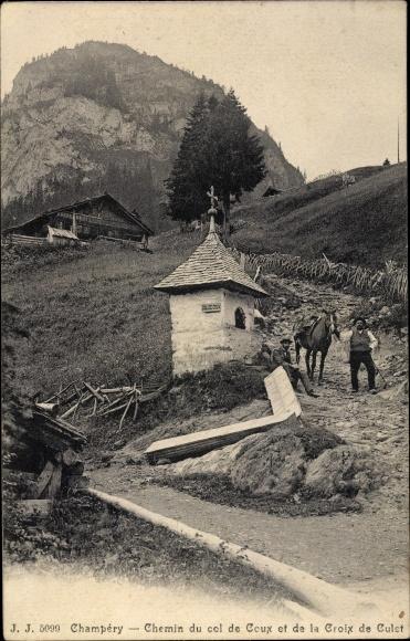 Ak Champéry Kt. Wallis Schweiz, Chemin du col de Coux, Croix de Culet