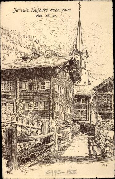 Künstler Ak Saas Saas Fee Kt. Wallis Schweiz, Kirche, Wohnhäuser
