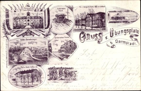 Litho Darmstadt in Hessen, Truppenübungsplatz, Barackenlager, Stabsgebäude, Sicherheitsstand