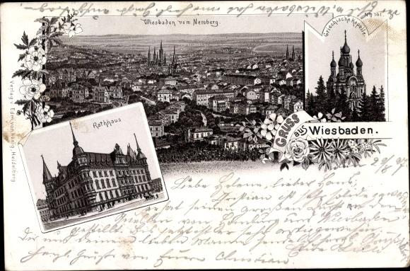Litho Wiesbaden in Hessen, Panorama vom Neroberg, Griechische Kapelle, Rathaus