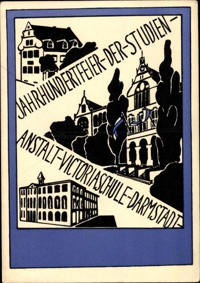 Studentika Ak Darmstadt in Hessen, Jahrhundertfeier der Studienanstalt Victoriaschule 1929
