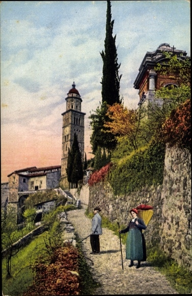 Ak Morcote Lago di Lugano Kt. Tessin, Veduta parziale